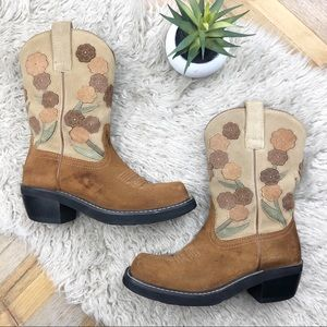 •ARIAT• Doll Baby Square Toe Floral Cowboy Boots